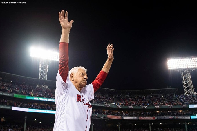 BOSTON, MA - OCTOBER 23: Former Boston Red Sox player Carl Yastrzemski is introduced before throwing out a ceremonial first pitch before game one of the 2018 World Series against the Los Angeles Dodgers on October 23, 2018 at Fenway Park in Boston, Massachusetts. (Photo by Billie Weiss/Boston Red Sox/Getty Images) *** Local Caption *** Carl Yastrzemski