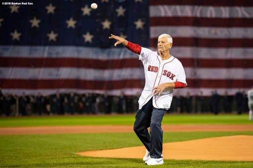 BOSTON, MA - OCTOBER 23: Former Boston Red Sox player Carl Yastrzemski throws out a ceremonial first pitch before game one of the 2018 World Series against the Los Angeles Dodgers on October 23, 2018 at Fenway Park in Boston, Massachusetts. (Photo by Billie Weiss/Boston Red Sox/Getty Images) *** Local Caption *** Carl Yastrzemski