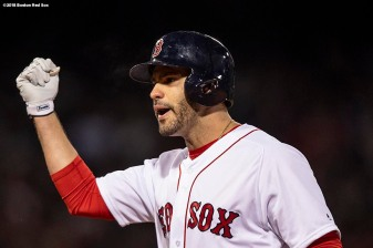BOSTON, MA - OCTOBER 23: J.D. Martinez #28 of the Boston Red Sox reacts after hitting an RBI single during the first inning of game one of the 2018 World Series against the Los Angeles Dodgers on October 23, 2018 at Fenway Park in Boston, Massachusetts. (Photo by Billie Weiss/Boston Red Sox/Getty Images) *** Local Caption *** J.D. Martinez