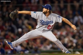 BOSTON, MA - OCTOBER 23: Clayton Kershaw #27 of the Los Angeles Dodgers delivers during the third inning of game one of the 2018 World Series against the Boston Red Sox on October 23, 2018 at Fenway Park in Boston, Massachusetts. (Photo by Billie Weiss/Boston Red Sox/Getty Images) *** Local Caption *** Clayton Kershaw