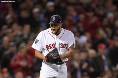 BOSTON, MA - OCTOBER 23: Eduardo Rodriguez #57 of the Boston Red Sox reacts during the seventh inning of game one of the 2018 World Series against the Los Angeles Dodgers on October 23, 2018 at Fenway Park in Boston, Massachusetts. (Photo by Billie Weiss/Boston Red Sox/Getty Images) *** Local Caption *** Eduardo Rodriguez