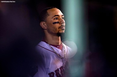 BOSTON, MA - OCTOBER 23: Mookie Betts #50 of the Boston Red Sox looks on during the seventh inning of game one of the 2018 World Series against the Los Angeles Dodgers on October 23, 2018 at Fenway Park in Boston, Massachusetts. (Photo by Billie Weiss/Boston Red Sox/Getty Images) *** Local Caption *** Mookie Betts