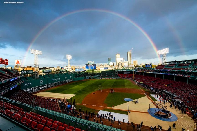 BOSTON, MA - OCTOBER 24: A rainbow forms over Fenway Park before game two of the 2018 World Series between the Boston Red Sox and the Los Angeles Dodgers on October 23, 2018 at Fenway Park in Boston, Massachusetts. (Photo by Billie Weiss/Boston Red Sox/Getty Images) *** Local Caption ***