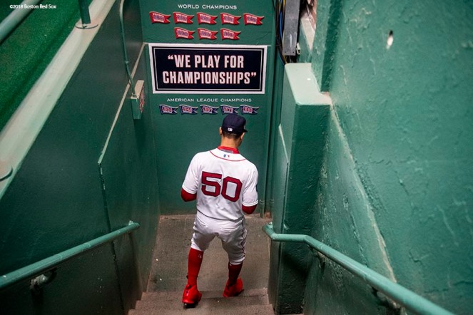 BOSTON, MA - OCTOBER 24: Mookie Betts #50 of the Boston Red Sox walks through the tunnel before game two of the 2018 World Series between the Boston Red Sox and the Los Angeles Dodgers on October 23, 2018 at Fenway Park in Boston, Massachusetts. (Photo by Billie Weiss/Boston Red Sox/Getty Images) *** Local Caption *** Mookie Betts