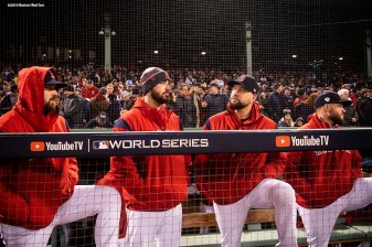 BOSTON, MA - OCTOBER 24: Heath Hembree #37, Brnadon Workman #44, Brian Johnson #61, and Ryan Brasier #70 of the Boston Red Sox look on before game two of the 2018 World Series against the Los Angeles Dodgers on October 23, 2018 at Fenway Park in Boston, Massachusetts. (Photo by Billie Weiss/Boston Red Sox/Getty Images) *** Local Caption *** Heath Hembree; Brian Johnson; Brandon Workman; Ryan Brasier