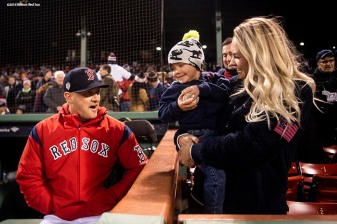 BOSTON, MA - OCTOBER 24: Steven Wright #35 of the Boston Red Sox reacts with his wife Shannon and son Lucas before game two of the 2018 World Series against the Los Angeles Dodgers on October 23, 2018 at Fenway Park in Boston, Massachusetts. (Photo by Billie Weiss/Boston Red Sox/Getty Images) *** Local Caption *** Steven Wright