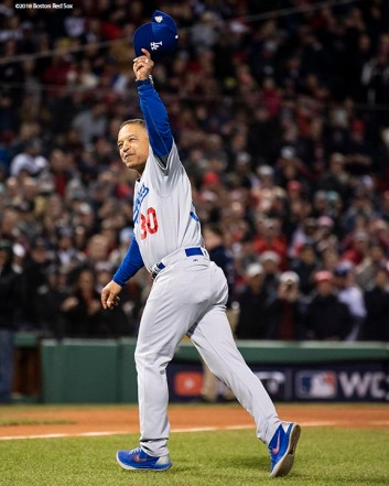 BOSTON, MA - OCTOBER 24: Manager Dave Roberts of the Los Angeles Dodgers acknowledges the crowd as he is recognized during a ceremonial first pitch ceremony before game two of the 2018 World Series against the Boston Red Sox on October 23, 2018 at Fenway Park in Boston, Massachusetts. (Photo by Billie Weiss/Boston Red Sox/Getty Images) *** Local Caption *** Dave Roberts