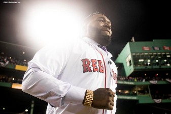 BOSTON, MA - OCTOBER 24: Former designated hitter David Ortiz of the Boston Red Sox is introduced before throwing out a ceremonial first pitch before game two of the 2018 World Series against the Los Angeles Dodgers on October 23, 2018 at Fenway Park in Boston, Massachusetts. (Photo by Billie Weiss/Boston Red Sox/Getty Images) *** Local Caption *** David Ortiz