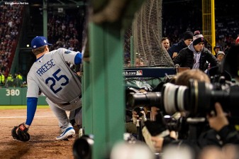 BOSTON, MA - OCTOBER 24: David Freese #25 of the Los Angeles Dodgers stops short of the photographer pit as he attempts to catch a fly ball during the second inning of game two of the 2018 World Series against the Boston Red Sox on October 23, 2018 at Fenway Park in Boston, Massachusetts. (Photo by Billie Weiss/Boston Red Sox/Getty Images) *** Local Caption *** David Freese