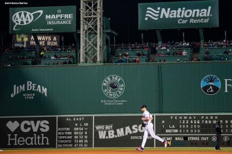 BOSTON, MA - OCTOBER 24: Joe Kelly #56 of the Boston Red Sox enters the game during the seventh inning of game two of the 2018 World Series against the Los Angeles Dodgers on October 23, 2018 at Fenway Park in Boston, Massachusetts. (Photo by Billie Weiss/Boston Red Sox/Getty Images) *** Local Caption *** Joe Kelly