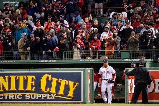 BOSTON, MA - OCTOBER 24: Craig Kimbrel #46 of the Boston Red Sox enters the game from the bullpen during the ninth inning of game two of the 2018 World Series against the Los Angeles Dodgers on October 23, 2018 at Fenway Park in Boston, Massachusetts. (Photo by Billie Weiss/Boston Red Sox/Getty Images) *** Local Caption *** Craig Kimbrel