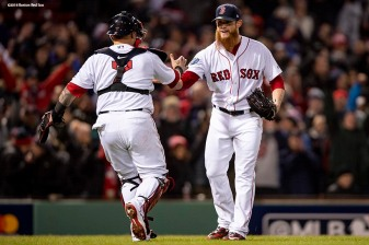 BOSTON, MA - OCTOBER 24: Craig Kimbrel #46 and Christian Vazquez #7 of the Boston Red Sox celebrate a victory in game two of the 2018 World Series against the Los Angeles Dodgers on October 23, 2018 at Fenway Park in Boston, Massachusetts. (Photo by Billie Weiss/Boston Red Sox/Getty Images) *** Local Caption *** Craig Kimbrel; Christian Vazquez