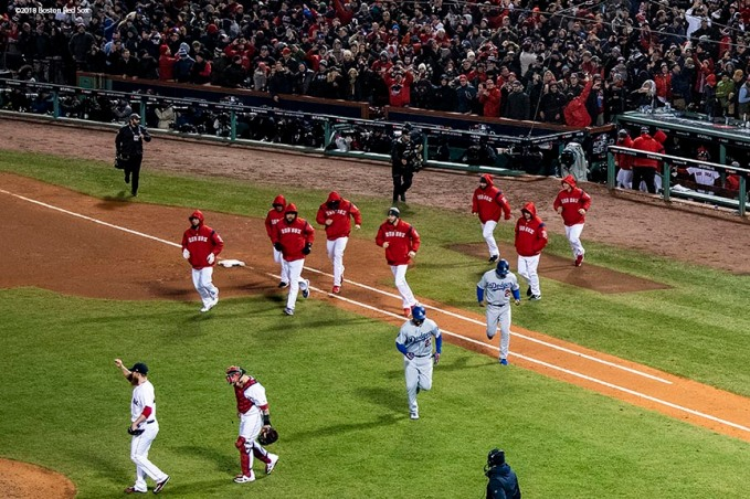 BOSTON, MA - OCTOBER 24: Members of the Boston Red Sox celebrate a victory in game two of the 2018 World Series against the Los Angeles Dodgers on October 23, 2018 at Fenway Park in Boston, Massachusetts. (Photo by Billie Weiss/Boston Red Sox/Getty Images) *** Local Caption ***
