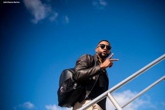BOSTON, MA - OCTOBER 25: Eduardo Nunez #36 of the Boston Red Sox boards the plane as they travel to Los Angeles before game three of the 2018 World Series against the Los Angeles Dodgers on October 25, 2018 at Fenway Park in Boston, Massachusetts. (Photo by Billie Weiss/Boston Red Sox/Getty Images) *** Local Caption *** Eduardo Nunez