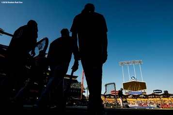 LOS ANGELES, CA - OCTOBER 26: Members of the Boston Red Sox take batting practice before game three of the 2018 World Series against the Los Angeles Dodgers on October 26, 2018 at Dodger Stadium in Los Angeles, California. (Photo by Billie Weiss/Boston Red Sox/Getty Images) *** Local Caption ***