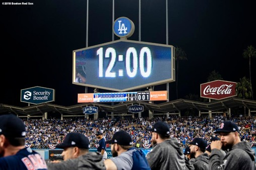 LOS ANGELES, CA - OCTOBER 26: The scoreboard displays the time as it turns to midnight during game three of the 2018 World Series between the Boston Red Sox and the Los Angeles Dodgers on October 26, 2018 at Dodger Stadium in Los Angeles, California. (Photo by Billie Weiss/Boston Red Sox/Getty Images) *** Local Caption ***