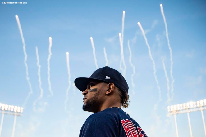 LOS ANGELES, CA - OCTOBER 26: Xander Bogaerts #2 of the Boston Red Sox looks on as fireworks explode before game three of the 2018 World Series against the Los Angeles Dodgers on October 26, 2018 at Dodger Stadium in Los Angeles, California. (Photo by Billie Weiss/Boston Red Sox/Getty Images) *** Local Caption *** Xander Bogaerts