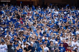 LOS ANGELES, CA - OCTOBER 26: Fans of the Los Angeles Dodgers cheer before game three of the 2018 World Series against the Boston Red Sox on October 26, 2018 at Dodger Stadium in Los Angeles, California. (Photo by Billie Weiss/Boston Red Sox/Getty Images) *** Local Caption ***