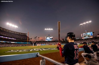 LOS ANGELES, CA - OCTOBER 26: Brock Holt #12 of the Boston Red Sox looks on during the fourth inning of game three of the 2018 World Series against the Los Angeles Dodgers on October 26, 2018 at Dodger Stadium in Los Angeles, California. (Photo by Billie Weiss/Boston Red Sox/Getty Images) *** Local Caption *** Brock Holt
