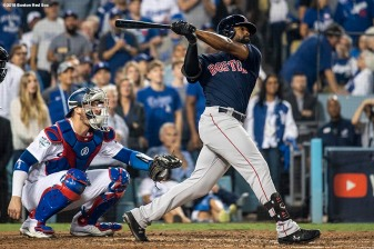 LOS ANGELES, CA - OCTOBER 26: Jackie Bradley Jr. #19 of the Boston Red Sox hits a game tying solo home run during the eighth inning of game three of the 2018 World Series against the Los Angeles Dodgers on October 26, 2018 at Dodger Stadium in Los Angeles, California. (Photo by Billie Weiss/Boston Red Sox/Getty Images) *** Local Caption *** Jackie Bradley Jr.