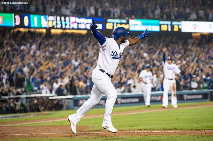LOS ANGELES, CA - OCTOBER 27: Yasiel Puig #66 of the Los Angeles Dodgers reacts after hitting a three run home run during the sixth inning of game four of the 2018 World Series against the Boston Red Sox on October 27, 2018 at Dodger Stadium in Los Angeles, California. (Photo by Billie Weiss/Boston Red Sox/Getty Images) *** Local Caption *** Yasiel Puig