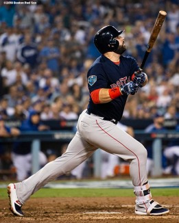 LOS ANGELES, CA - OCTOBER 27: Mitch Moreland #18 of the Boston Red Sox hits a three-run home run in the seventh inning against pitcher Ryan Madson #50 of the Los Angeles Dodgers (not in photo) in Game Four of the 2018 World Series at Dodger Stadium on October 27, 2018 in Los Angeles, California. (Photo by Billie Weiss/Boston Red Sox/Getty Images) *** Local Caption *** Mitch Moreland
