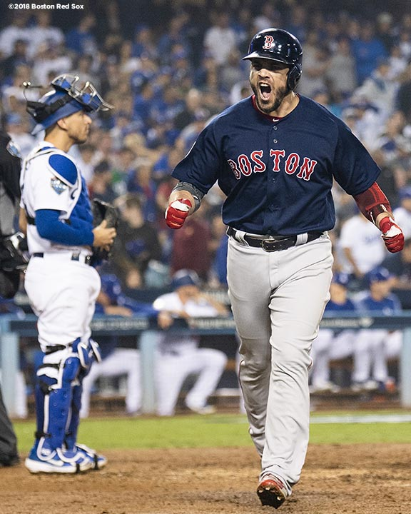 LOS ANGELES, CA - OCTOBER 27: Steve Pearce #25 of the Boston Red Sox reacts after hitting a game tying solo home run during the eighth inning of game four of the 2018 World Series against the Los Angeles Dodgers on October 27, 2018 at Dodger Stadium in Los Angeles, California. (Photo by Billie Weiss/Boston Red Sox/Getty Images) *** Local Caption *** Steve Pearce