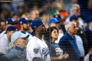 LOS ANGELES, CA - OCTOBER 27: Kobe Bryant attends Game Four of the 2018 World Series between the Los Angeles Dodgers and the Boston Red Sox at Dodger Stadium on October 27, 2018 in Los Angeles, California. (Photo by Billie Weiss/Boston Red Sox/Getty Images) *** Local Caption *** Kobe Bryant