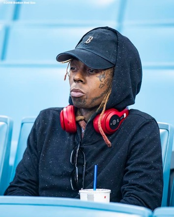 LOS ANGELES, CA - OCTOBER 28: Artist Lil Wayne attends game five of the 2018 World Series between the Boston Red Sox and the Los Angeles Dodgers on October 28, 2018 at Dodger Stadium in Los Angeles, California. (Photo by Billie Weiss/Boston Red Sox/Getty Images) *** Local Caption *** Lil Wayne