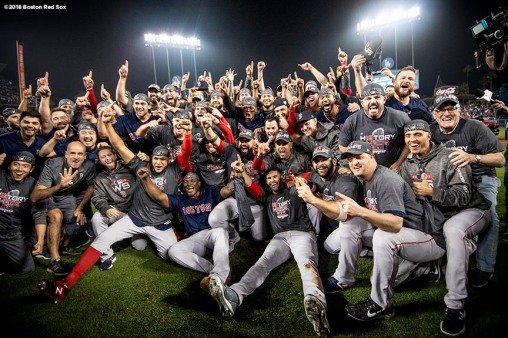 LOS ANGELES, CA - OCTOBER 28: Members of the Boston Red Sox pose for a team photograph as they celebrate after winning the 2018 World Series in game five against the Los Angeles Dodgers on October 28, 2018 at Dodger Stadium in Los Angeles, California. (Photo by Billie Weiss/Boston Red Sox/Getty Images) *** Local Caption ***