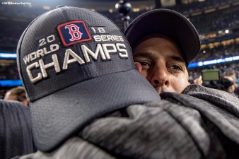 LOS ANGELES, CA - OCTOBER 28: Manager Alex Cora of the Boston Red Sox celebrates after winning the 2018 World Series in game five against the Los Angeles Dodgers on October 28, 2018 at Dodger Stadium in Los Angeles, California. (Photo by Billie Weiss/Boston Red Sox/Getty Images) *** Local Caption *** Alex Cora