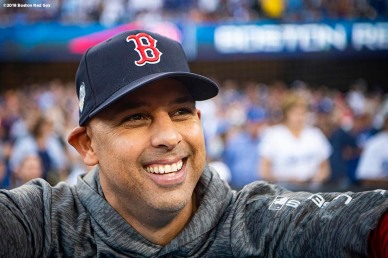 LOS ANGELES, CA - OCTOBER 28: Manager Alex Cora of the Boston Red Sox reacts before game five of the 2018 World Series against the Los Angeles Dodgers on October 28, 2018 at Dodger Stadium in Los Angeles, California. (Photo by Billie Weiss/Boston Red Sox/Getty Images) *** Local Caption *** Alex Cora