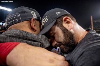 LOS ANGELES, CA - OCTOBER 28: Manager Alex Cora and Mitch Moreland #5 of the Boston Red Sox celebrates after winning the 2018 World Series in game five against the Los Angeles Dodgers on October 28, 2018 at Dodger Stadium in Los Angeles, California. (Photo by Billie Weiss/Boston Red Sox/Getty Images) *** Local Caption *** Mitch Moreland; Alex Cora