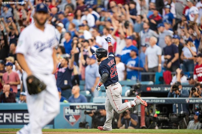 LOS ANGELES, CA - OCTOBER 28: Steve Pearce #25 of the Boston Red Sox reacts after hitting a two run home run off of Clayton Kershaw #22 of the Los Angeles Dodgers during the first inning of game five of the 2018 World Series on October 28, 2018 at Dodger Stadium in Los Angeles, California. (Photo by Billie Weiss/Boston Red Sox/Getty Images) *** Local Caption *** Steve Pearce; Clayton Kershaw