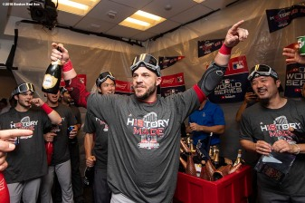 LOS ANGELES, CA - OCTOBER 28: Steve Pearce #25 of the Boston Red Sox celebrates with champagne in the clubhouse after winning the 2018 World Series in game five of the 2018 World Series against the Los Angeles Dodgers on October 28, 2018 at Dodger Stadium in Los Angeles, California. (Photo by Billie Weiss/Boston Red Sox/Getty Images) *** Local Caption *** Steve Pearce