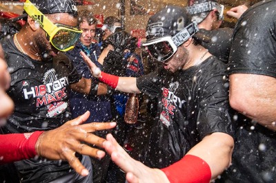 LOS ANGELES, CA - OCTOBER 28: Eduardo Nunez #36 and Andrew Benintendi #16 of the Boston Red Sox celebrate with champagne in the clubhouse after winning the 2018 World Series in game five of the 2018 World Series against the Los Angeles Dodgers on October 28, 2018 at Dodger Stadium in Los Angeles, California. (Photo by Billie Weiss/Boston Red Sox/Getty Images) *** Local Caption *** Andrew Benintendi; Eduardo Nunez