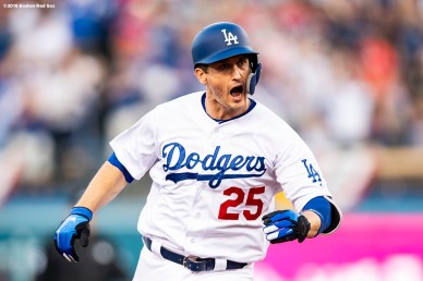 LOS ANGELES, CA - OCTOBER 28: David Freese #25 of the Los Angeles Dodgers reacts after hitting a solo home run during the first inning of game five of the 2018 World Series against the Boston Red Sox on October 28, 2018 at Dodger Stadium in Los Angeles, California. (Photo by Billie Weiss/Boston Red Sox/Getty Images) *** Local Caption *** David Freese