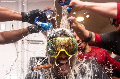 LOS ANGELES, CA - OCTOBER 28: J.D. Martinez #28 of the Boston Red Sox celebrates with champagne in the clubhouse after winning the 2018 World Series in game five of the 2018 World Series against the Los Angeles Dodgers on October 28, 2018 at Dodger Stadium in Los Angeles, California. (Photo by Billie Weiss/Boston Red Sox/Getty Images) *** Local Caption ***J.D. Martinez