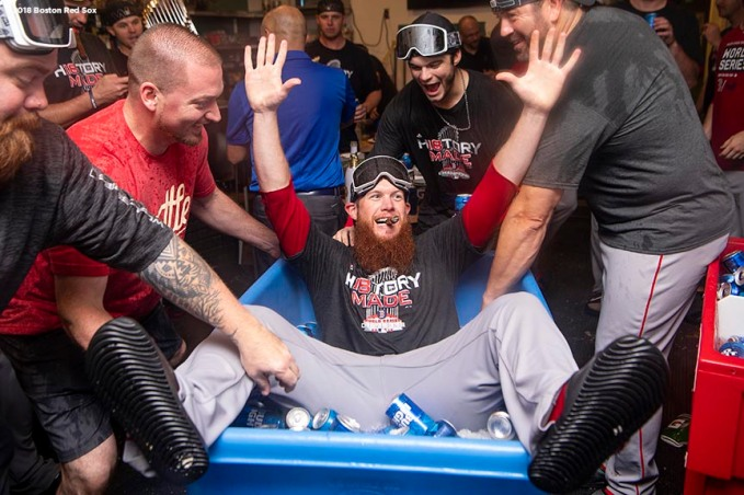 LOS ANGELES, CA - OCTOBER 28: Craig Kimbrel #46 of the Boston Red Sox celebrates in the clubhouse after winning the 2018 World Series in game five of the 2018 World Series against the Los Angeles Dodgers on October 28, 2018 at Dodger Stadium in Los Angeles, California. (Photo by Billie Weiss/Boston Red Sox/Getty Images) *** Local Caption ***Craig Kimbrel