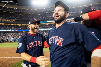 LOS ANGELES, CA - OCTOBER 28: Ian Kinsler #5 and Mitch Moreland #18 of the Boston Red Sox celebrate after winning the 2018 World Series in game five against the Los Angeles Dodgers on October 28, 2018 at Dodger Stadium in Los Angeles, California. (Photo by Billie Weiss/Boston Red Sox/Getty Images) *** Local Caption *** Mitch Moreland; Ian Kinsler