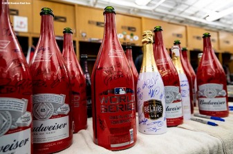 BOSTON, MA - OCTOBER 31: Autographed champagne bottles are displayed during the Boston Red Sox 2018 World Series rolling rally parade on October 31, 2018 in Boston, Massachusetts. (Photo by Billie Weiss/Boston Red Sox/Getty Images) *** Local Caption ***