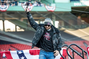 BOSTON, MA - OCTOBER 31: Steve Pearce #25 of the Boston Red Sox is introduced during the 2018 World Series rolling rally parade on October 31, 2018 in Boston, Massachusetts. (Photo by Billie Weiss/Boston Red Sox/Getty Images) *** Local Caption *** Steve Pearce