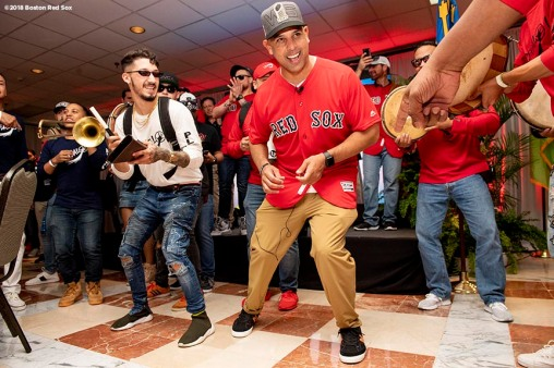 CAGUAS, PUERTO RICO - NOVEMBER 3: Manager Alex Cora of the Boston Red Sox dances during a trip from Boston, Massachusetts to Caguas, Puerto Rico on November 3, 2018 after the Boston Red Sox 2018 World Series victory. (Photo by Billie Weiss/Boston Red Sox/Getty Images) *** Local Caption *** Alex Cora