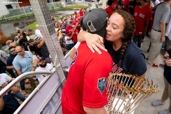 CAGUAS, PUERTO RICO - NOVEMBER 3: Christian Vazquez #7 of the Boston Red Sox hugs a family member during a World Series parade during a Boston Red Sox trip from Boston, Massachusetts to Caguas, Puerto Rico on November 3, 2018 after the Boston Red Sox 2018 World Series victory. (Photo by Billie Weiss/Boston Red Sox/Getty Images) *** Local Caption *** Christian Vazquez