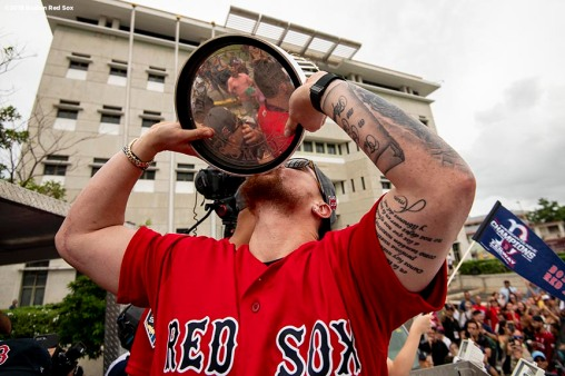 CAGUAS, PUERTO RICO - NOVEMBER 3: Christian Vazquez #7 of the Boston Red Sox kisses the 2018 World Series trophy during a World Series parade during a Boston Red Sox trip from Boston, Massachusetts to Caguas, Puerto Rico on November 3, 2018 after the Boston Red Sox 2018 World Series victory. (Photo by Billie Weiss/Boston Red Sox/Getty Images) *** Local Caption *** Christian Vazquez