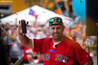 CAGUAS, PUERTO RICO - NOVEMBER 3: Manager Alex Cora of the Boston Red Sox reacts during a World Series parade during a Boston Red Sox trip from Boston, Massachusetts to Caguas, Puerto Rico on November 3, 2018 after the Boston Red Sox 2018 World Series victory. (Photo by Billie Weiss/Boston Red Sox/Getty Images) *** Local Caption *** Alex Cora
