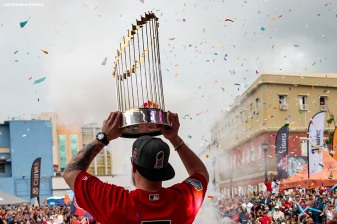 CAGUAS, PUERTO RICO - NOVEMBER 3: Christian Vazquez #7 of the Boston Red Sox displays the 2018 World Series trophy during a World Series parade during a Boston Red Sox trip from Boston, Massachusetts to Caguas, Puerto Rico on November 3, 2018 after the Boston Red Sox 2018 World Series victory. (Photo by Billie Weiss/Boston Red Sox/Getty Images) *** Local Caption *** Christian Vazquez