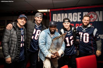 FOXBOROUGH, MA - NOVEMBER 4: Steve Pearce #25, J.D. Martinez #28, Brock Holt #12, and Ryan Brasier #70 of the Boston Red Sox pose for a photograph with rapper 50 Cent before a game against the Green Bay Packers on November 4, 2018 at Gillette Stadium in Foxborough, Massachusetts. (Photo by Billie Weiss/Boston Red Sox/Getty Images) *** Local Caption *** Steve Pearce; J.D. Martinez; Brock Holt; Ryan Brasier; 50 Cent