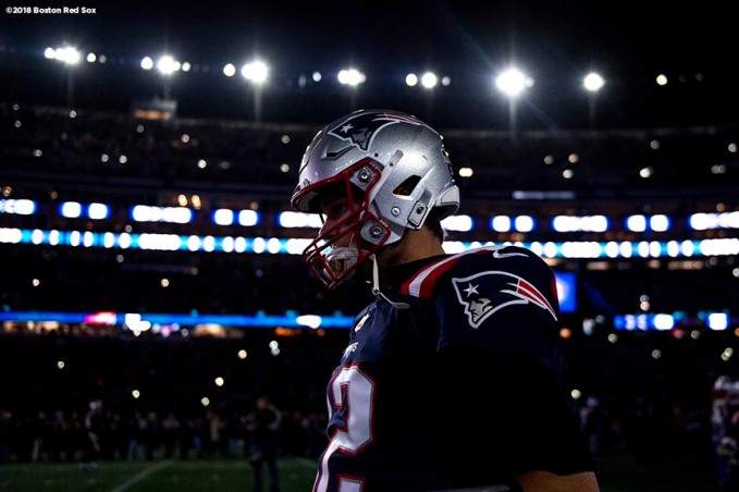 FOXBOROUGH, MA - NOVEMBER 4: Tom Brady #12 of the New England Patriots looks on before a game against the Green Bay Packers on November 4, 2018 at Gillette Stadium in Foxborough, Massachusetts. (Photo by Billie Weiss/Boston Red Sox/Getty Images) *** Local Caption *** Tom Brady