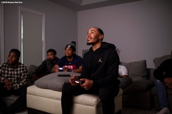 NASHVILLE, TN - NOVEMBER 15: Mookie Betts #50 of the Boston Red Sox plays video games before the 2018 American League Most Valuable Player announcement on November 15, 2018 in Nashville, Tennessee. (Photo by Billie Weiss/Boston Red Sox/Getty Images) *** Local Caption *** Mookie Betts